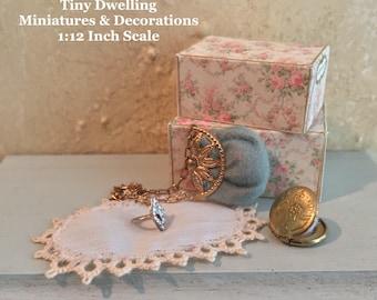 Miniature Dollhouse Jewelry, Dollhouse Rings, Miniature Boudoir, Dollhouse Jewelry Box, Dollhouse Jewelry