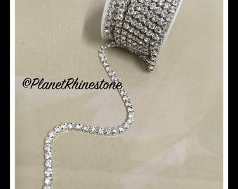 5-yard / Simple Single line SS18 / Silver / Rhinestone Trim Chain #S03