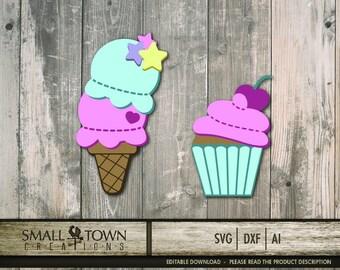 Ice Cream Cone - Cupcake SVG Cut Files - Vinyl Cutters, Screen Printing, Silhouette, Die Cut Machines, & More