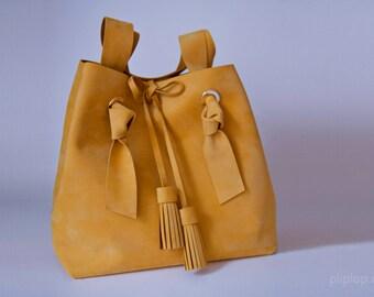 Yellow bag, Leather Bags women, leather handbag, womens leather bag, yellow leather bag handmade, Leather Tote Bag, Nubuck Leather Bag