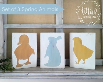 Set of 3 Spring Animal Blocks, Spring Decor, Rustic Spring Decor, Farmhouse Spring Decor