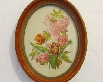 A Neat VINTAGE 30's era,OVAL Wooden Frame FLORAL Pic Form DETR0IT,Mi Hope Novelty Co..