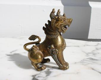 Vintage Solid Bronze Foo Dog / Foo Lion / Guardian Lion