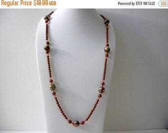 ON SALE Vintage Carnelian Hand Painted Glass Stones No Clasp 36 Inches Necklace 71617