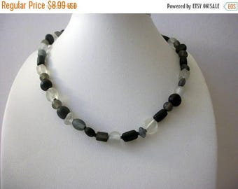 ON SALE Retro Frosted Glass Beads Shorter Length Necklace 8916