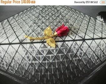 ON SALE Retro Long Gold Tone Stem Red Rose Metal Pin 110716