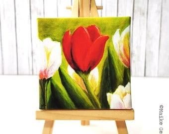 Mini Canvas Giclée Print with Easel - Handmade - Tulpis Spring Flowers Botanicals, acrylic painting artwork by Fleurdoodles Maike Geller