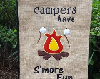Campers Have Smore Fun Campsite Burlap Garden Flag Campsite Flag Camping Flag Burlap Flag Camping Firepit Camp Fire Smores