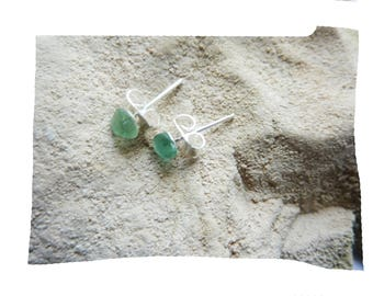 Stud Earrings natural sustainable organic pieces of glass polished by the sea