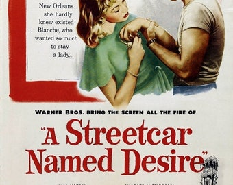 Back to School Sale: A STREETCAR NAMED Desire Movie Poster 1951 Marlon Brando Broadway