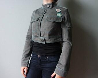 Army Style Denim Vintage Jacket Womens Western Short Jacket