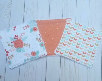Mint and Coral Chenille Baby Washcloths- set of 3, baby wash cloths, reusable wipes, cotton baby wipes