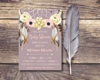 Beautiful Watercolor Dream Catcher DIY Printable Baby Shower Invitation Mauve
