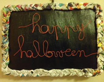 "Electric cardstock ""Happy Halloween"" to hang wire sculpture door sign"