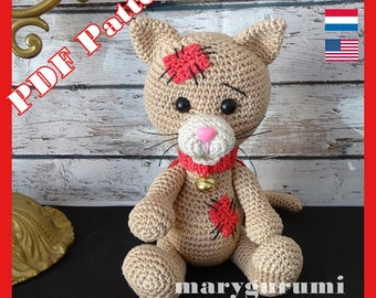 Crochet Pattern, pattern, tutorial, Amigurumi cat Kiki