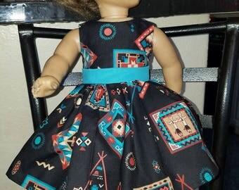 Indian print dress- Fits American Girl- 18 inch dolls- NEW!