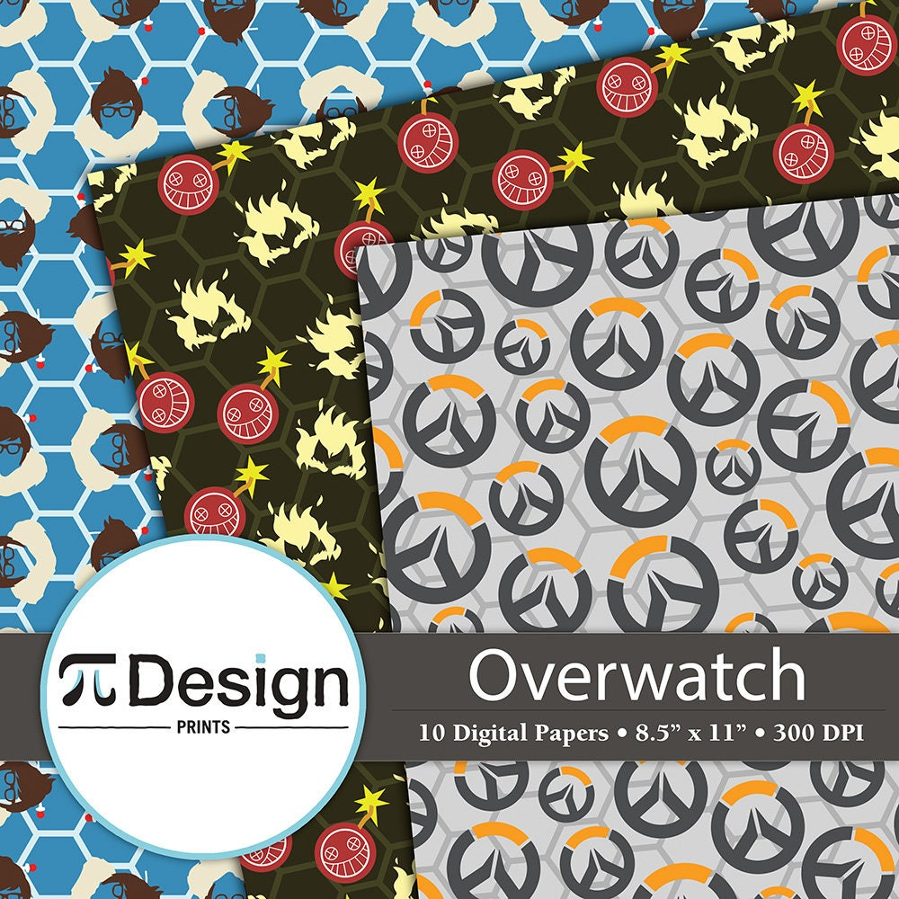85x11 overwatch character icon digital paper 10 pack video this is a digital file buycottarizona