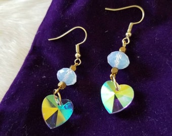 Kaleidoscope Heart - Swarovksi Crystal Opalite Earrings