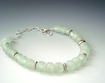 African Recycled Green Glass and Sterling Silver Beaded Necklace