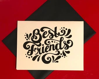 black and white hand lettered best friend card