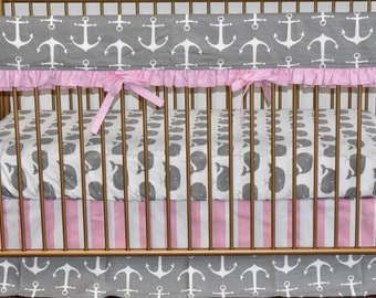 3 PIECE SET  -Grey and Pink Nautical Crib Bedding, modern nursery, modern quilt, nautical, whales, anchors, crib bedding