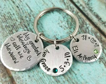 Grandmother keychain, birthstone keychain, family gift, family keychain, gift for mom, gift for nana, handstamped keychain, custom keychain