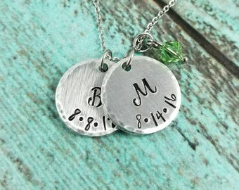 Initial Necklace, Name Necklace, Mother's Day Gift, Mother's Nacklace, Gift For Mom, Gift for Grandmother, Birthstone Necklace