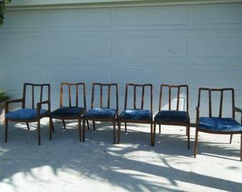 Vintage MCM Complete Set 6 John Stuart Dining Chairs 2 Armchairs 4 Singles 50's