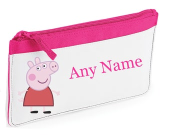 Personalised Peppa Pig Style Pencil Case *Pink/Blue/Red/Black*