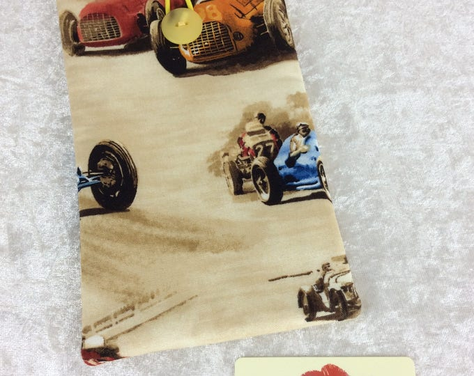 Classic Cruisers Racing Cars Large Phone Glasses Case fabric elastic button Handmade in England