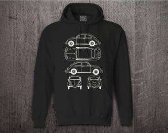 VW Beetle hoodie, Cars hoodies, Classic BUG hoodies, Beetle blue print hoodies, funny hoodies, Cars t shirts, vw shirts beetle shirt