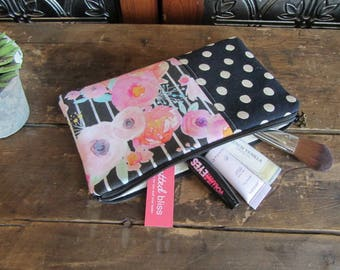 Make-up or Pencil Bag, Pink Floral with Black Dots, Zipper Storage Bag, Fabric Make Up Bag, Long Rectangle Make Up Bag