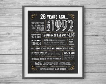 26th Birthday or Anniversary Chalk Sign, Printable 8x10 and 16x20, Party Supplies, 26 Years Ago in 1992, Instant Digital Download