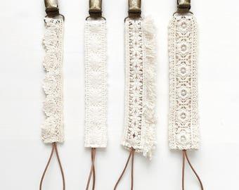 Boho Pacifier Clips, lace paci clip, fringe paci clips, floral paci clip, soother clip, dummy clip, toy saver