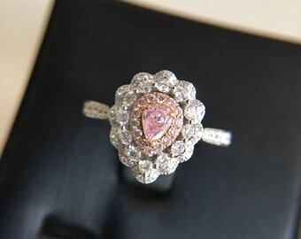 017 carat pink diamond engagement ring pink stone engagement ring pink stone ring pear diamond ring - Pink Diamond Wedding Rings