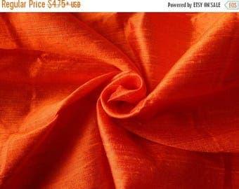10% OFF Pure Silk Fabric, Pure Dupioni Silk Fabric, Silk Fabric, Indian Silk Fabric, Orange Silk Fabric