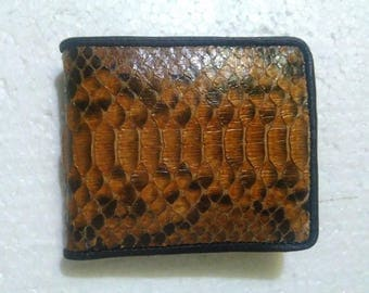 Men's SNAKESKIN LEATHER WALLET, Brown Python Wallet, Snakeskin Purse, Men's Purse, Leather Purse #002