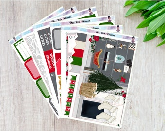 Cozy Christmas Full 6 Page Weekly Kit for the Vertical Erin Condren Life Planner || Scene Kit
