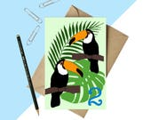 Age 2 Toucan Birthday card - toddler card - year 2 card - kids card - childrens card - first birthday - childrens age card - jungle card