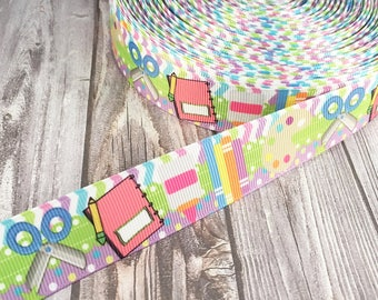 School ribbon - School ribbon - Back to school craft - School bow DIY - Do it yourself - School supply ribbon - Chevron ribbon - Polka dot