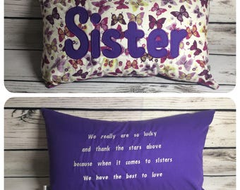 "12x20"" cushion personalised sister"
