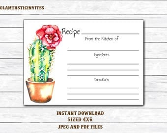 Recipe Card, Fiesta Recipe Card, Printable Recipe Card, Cactus Recipe Card, Mexican Theme, Bridal Shower Recipe Card, Fiesta Shower, Fiesta