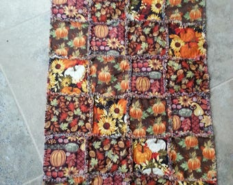 Fall/Thanksgiving Rag Quilted Cotton Table Runner