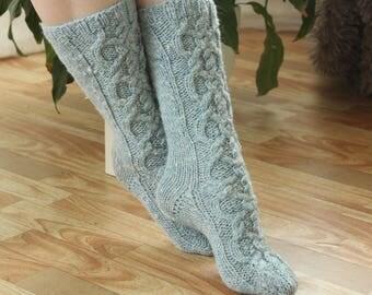 Wool Ankle Socks Wool socks Hand made socks Cable long Socks sky blue Grey wool socks Warm winter socks aran socks Cable socks