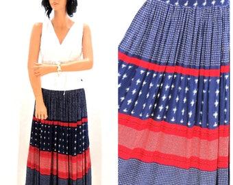 Vintage 80s broom skirt S M 4th of July maxi skirt 1980s prairie skirt hippie festival skirt long boho broom skirt  SunnyBohoVintage