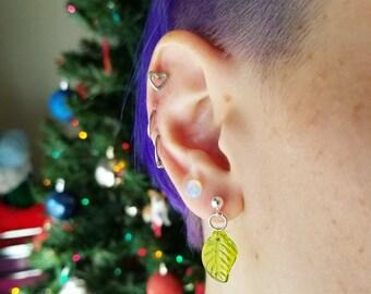 Glass Bead Leaf Silver Stud Earrings