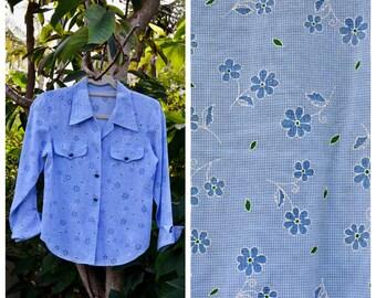Vintage Blue Floral Western Blouse
