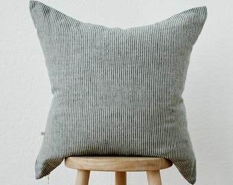 Linen Pillow Cover in Stone Gray Stripe