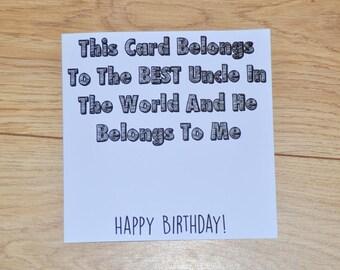 Uncle Birthday Card, Card for Uncle, Birthday Card for Uncle, Best Uncle, Card from Niece, Card from Nephew, Uncle Card, Uncle Greeting card