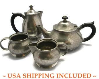 Circa 1920 Pewter Tea Set Liberty of London Tudric Hand Hammered